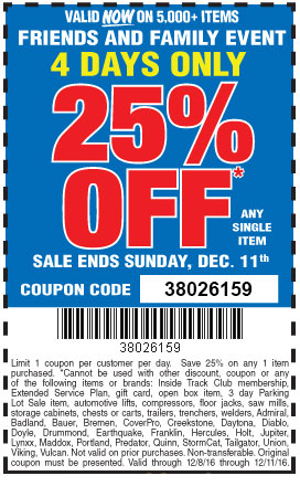 Mills Fleet Farm Promo Code >> Harbor Freight 25 Off Coupon 4 Days Only Struggleville