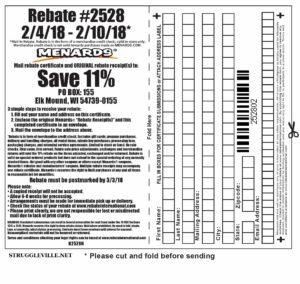 Fleet Farm Coupons >> Menards 11% Rebate #2528 – Purchases 2/4/18 – 2/10/18 ...