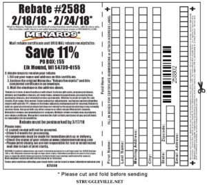 Fleet Farm Coupons >> Menards 11% Rebate #2588 – Purchases 2/18/18 – 2/24/18 ...