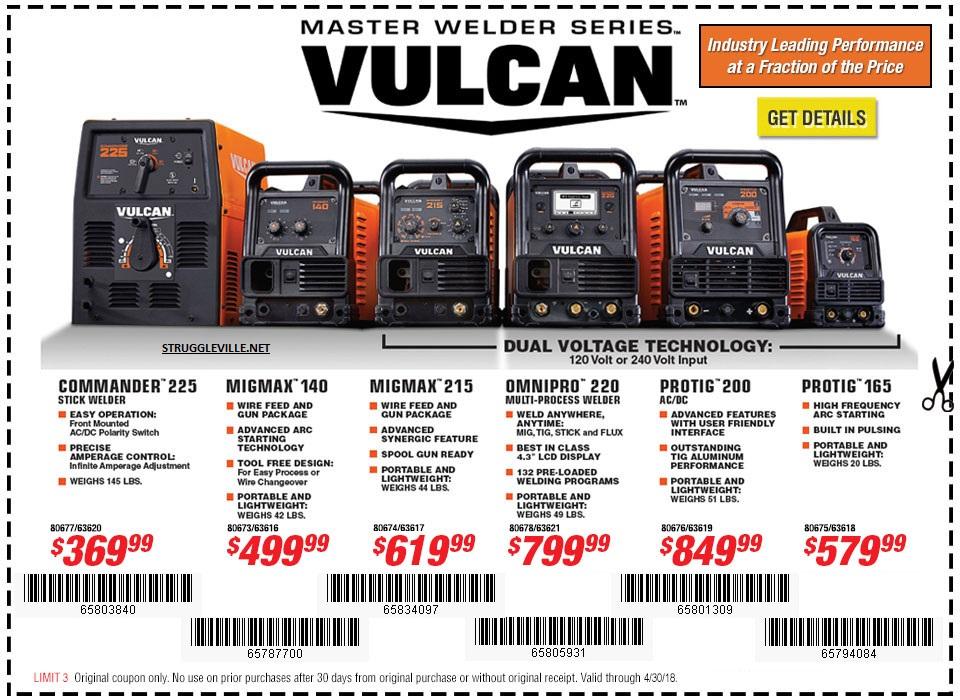Fleet Farm Coupons >> Vulcan Welders – Expires 4/30/18 – Struggleville