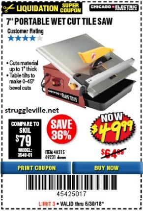 7″ Portable Wet Cut Tile Saw – Expires 6/30/18 – 40315 69231