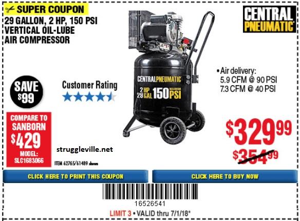 Fleet Farm Coupons >> 29 Gallon 2 HP 150 PSI Vertical Oil Lube Air Compressor ...