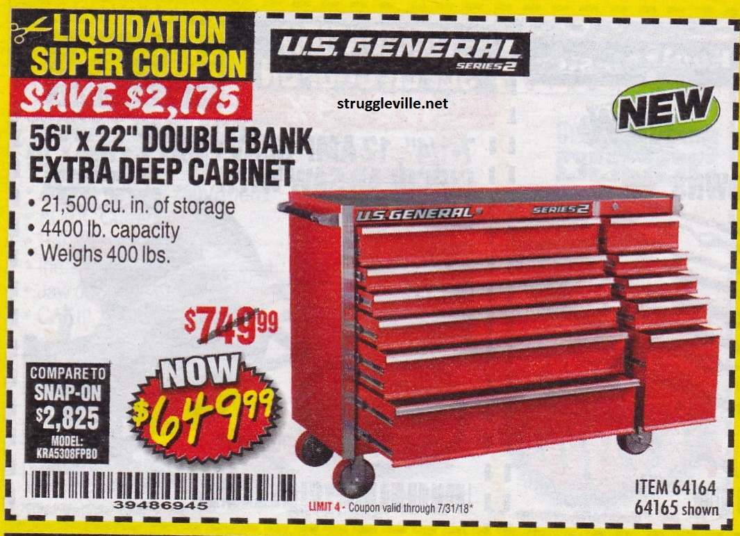 Us General 56 X 22 Double Bank Extra Deep Cabinet