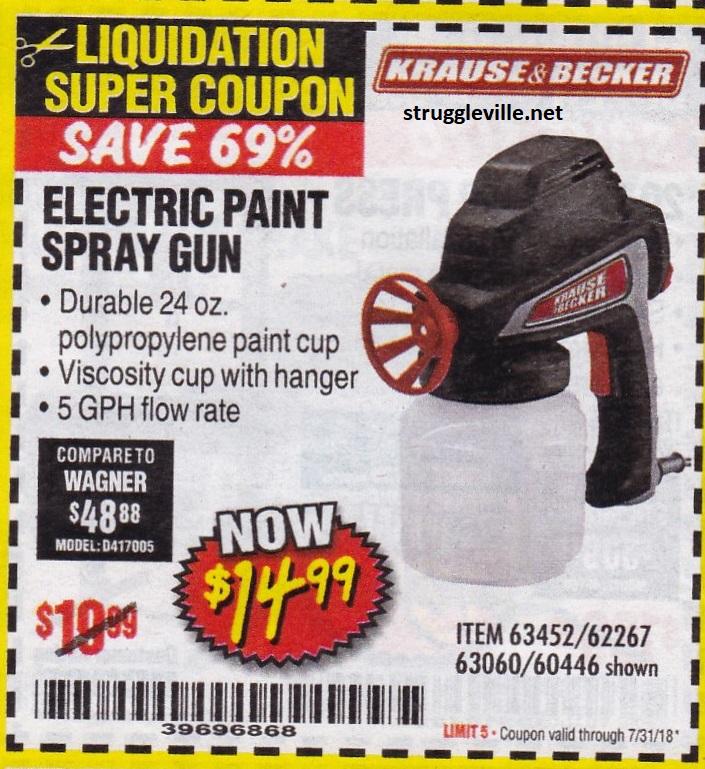 Electric Paint Spray Gun Expires 7 31 18 63452 62267