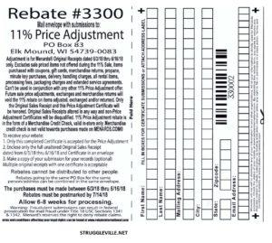 Fleet Farm Coupons >> Menards 11% Price Adjustment Rebate #3300 – Purchases 6/3