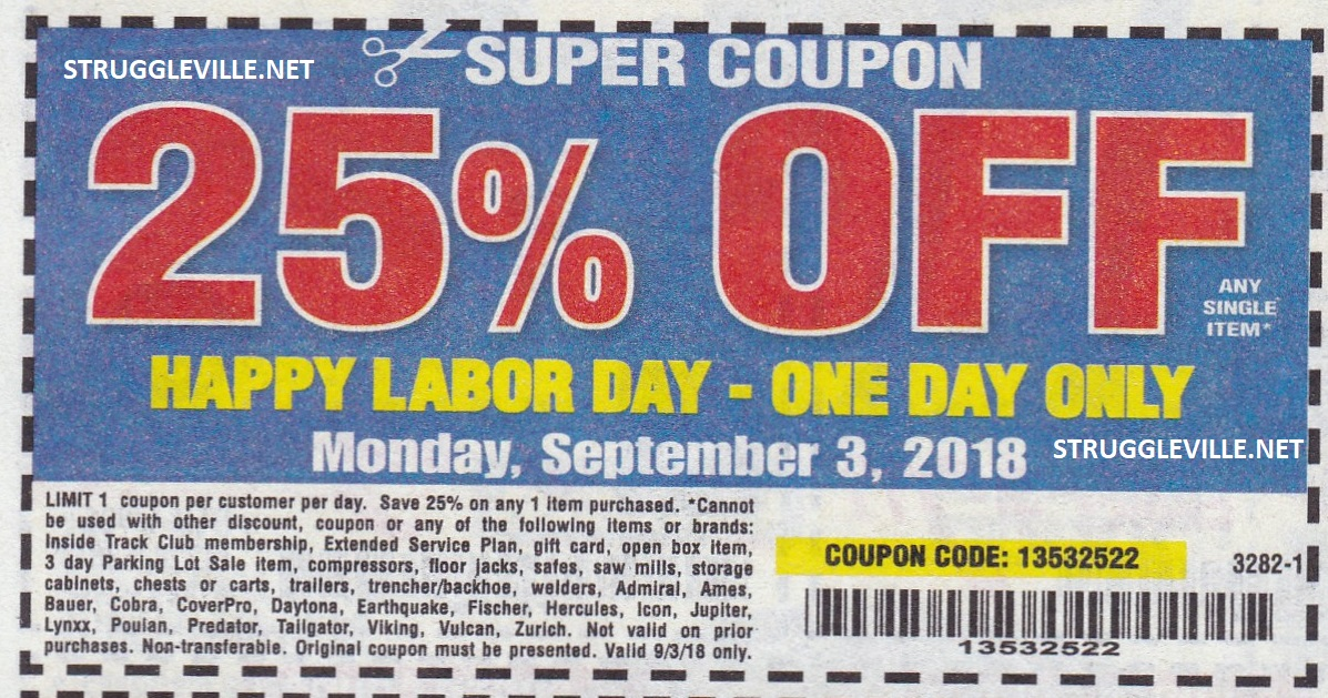 It is a graphic of Refreshing Harbor Freight 25 Off Printable Coupon 2020