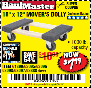 18 X 12 Mover S Dolly Expires 6 30 19 61899 63095 63096 63098