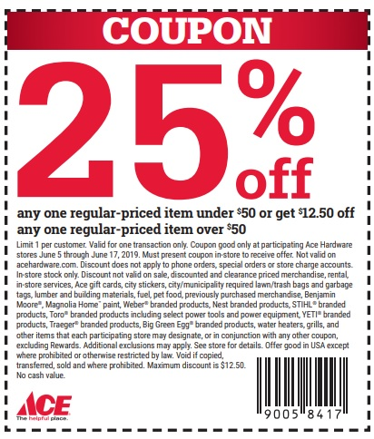 25% Off At Ace Hardware Coupon