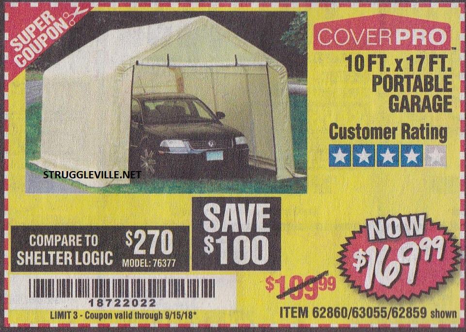10 Ft. x 17 Ft. Portable Garage – Expires 9/15/18 – 62860 ...