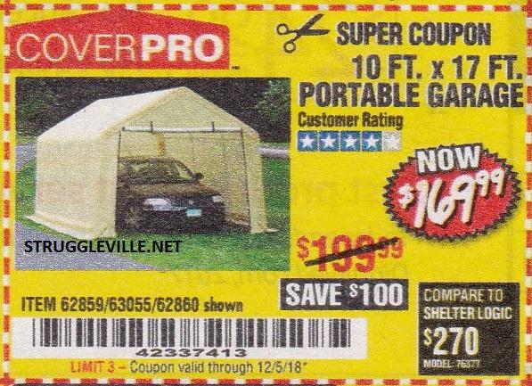 10 Ft. x 17 Ft. Portable Garage – Expires 12/5/18 – 62859 ...