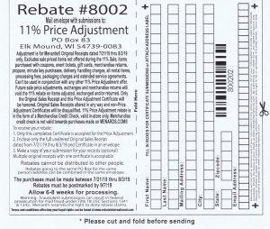Menards 11 Percent Price Adjustment Rebate Number 8002