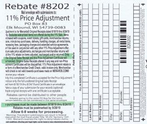 Menards 11 Percent Price Adjustment Rebate Number 8202