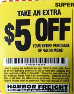 Harbor Freight 5 Dollars Off Purchase of 50 Dollars or More