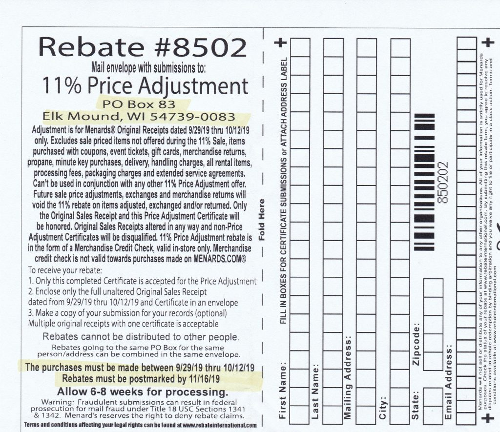 Menards 11 percent price adjustment rebate number 8502