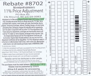 Menards 11 Percent Price Adjustment Rebate Number 8702
